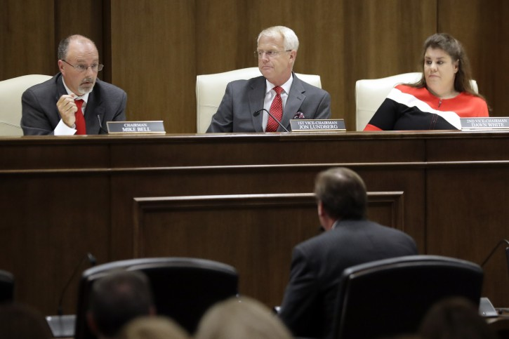 Sen. Mike Bell, R-Riceville, left; Sen. Jon Lundberg, R-Bristol, center; and Sen. Dawn White, R-Murfreesboro, right; listen to the testimony of a speaker during a Senate hearing to discuss a fetal heartbeat abortion ban, or possibly something more restrictive, Monday, Aug. 12, 2019, in Nashville, Tenn. (AP Photo/Mark Humphrey)